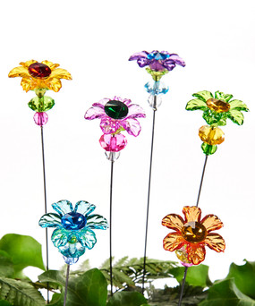 acrylic flower design garden pick (assorted)
