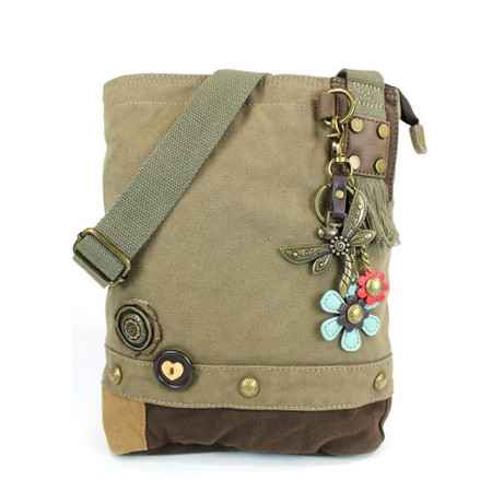 olive metal dragonfly crossbody bag, washed cotton canvas, faux leather