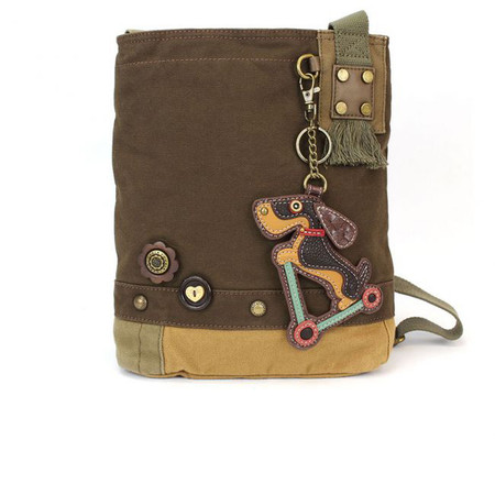 dark brown wiener dog scooter crossbody bag, washed cotton canvas, faux leather