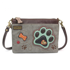 teal paw print mini crossbody gray,  Faux Leather, gray