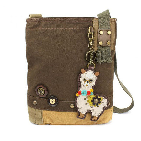 dark brown llama crossbody bag, washed cotton canvas, faux leather