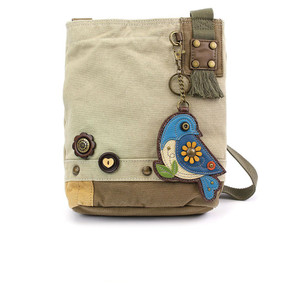sand blue bird crossbody bag, washed cotton canvas, faux leather