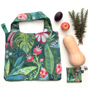 floral garden fabric foldable bag, reusable, durable fabric with strong stitching