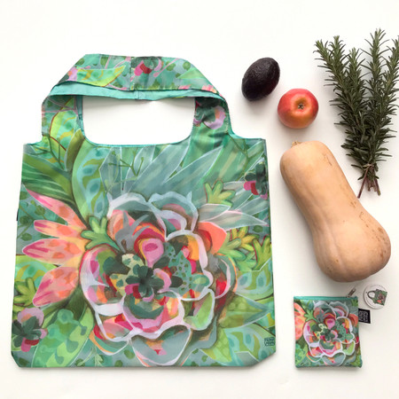 bursting bloom fabric foldable bag, reusable, very durable fabric with strong stitching