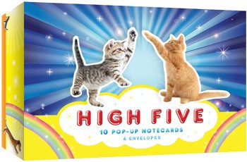 high five pop-up note cards, cats