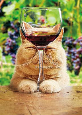 cat with glass of red wine birthday card