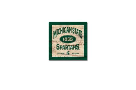 Michigan State University wood plank magnet  Size: 3x3