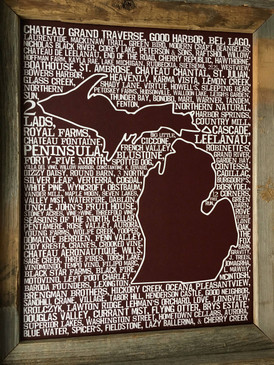 michigan wine print, 11 x 14