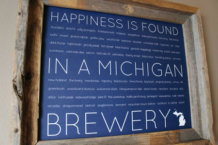 michigan breweries print, 11 x 14