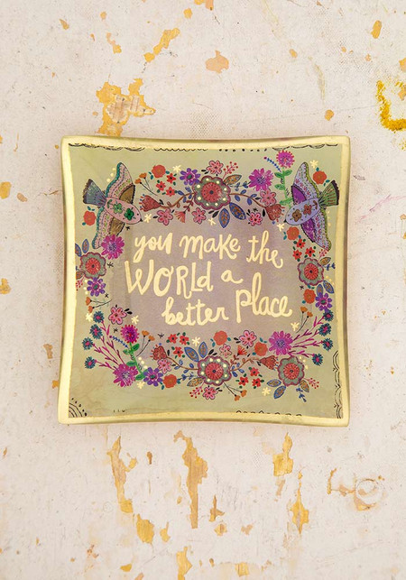 you make the world better glass tray, glass,  4.75in L x 4.75in W x 0.5in H