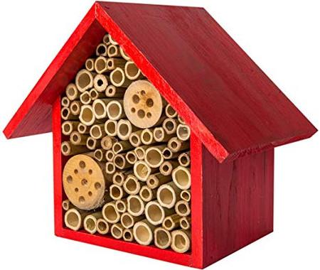 heather red beneficial bee hotel, polinator, organic gardening