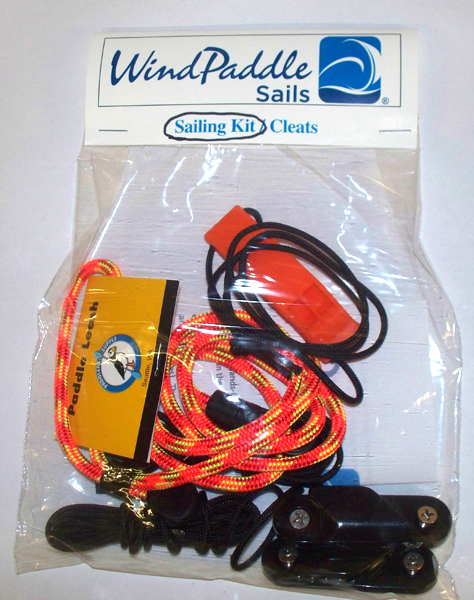 Windpaddle Sail Kit with cleats, leash, whistle and lines.
