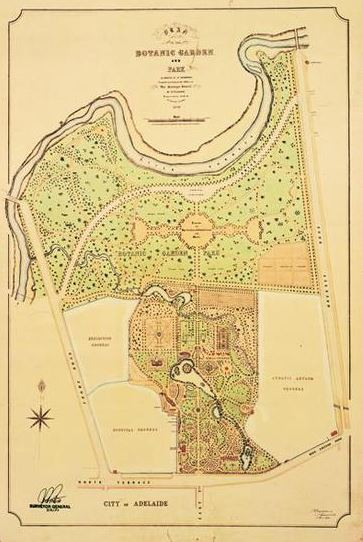 Plan of the Botanic Garden and Park as designed by Dr. Schomburgk