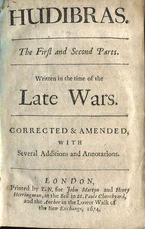 """Samuel Butler's """"Hudibras"""" published 1674-78"""