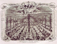 Old Colonist Dinner, 27th March 1851 in celebration of the first sale of town land off Colonel William Light's Plan of the planned settlement of Adelaide. Samuel Thomas Gill, the artist and lithographer, was soon to leave for the Victorian Goldfields along wiht many other of the male colonists. But here we see a mangnificent tent of 600 colonists, mnay of whom were present 14 years earlier. In Celebration of our 175th year the gallery is issuing 175 Conservation Limited Edition Giclees.