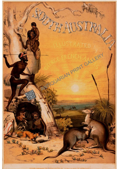 """Giclee: Title Page of  G.F. Angas """"South Australia Illustrated"""".  British artist designed this image based on Angas' paintings, but adapting elements to stereotypical British Antipodean ideals"""