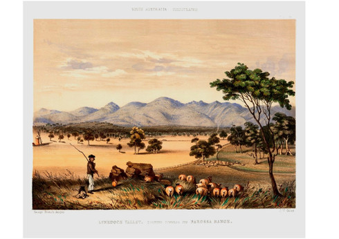 Giclee after George French Angas South Australia Illustrated Published in 1846-47  Lynedoch Valley  Looking towards Barossa Valley. Originally published as a hand coloured lithograph by J.W Giles