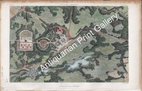 Botany Gardens Landscape Gardening 1853 copper engravng Antique Print