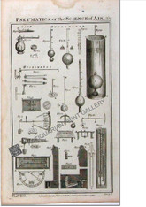 "Science Technology ""Pneumatics, or the Science of Air  Hydrometer"", Wilson Lowry 1788 Antique Print"