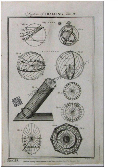 """Technology """"Dialling""""  Tide 1788 Antique Print"""