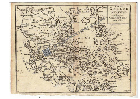 """Ancient Greece and the adjacent Islands according to Cornelius Nepros and others"" Christopher Browne c.1725"