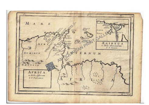 """""""Africa ex Bello Africano C.I. Caesaris- Egiptus ex Bello Alexandrino"""" Christopher Browne c.1725"""