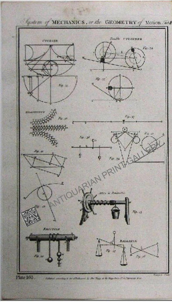 """""""System of Mechanics, or the Geometry of Motion"""" Tab. III Antique Print Circa 1788"""