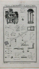 """""""System of Mechanics, or the Science of Motion"""" Tab. V , London, circa 1788  Features Barker's Mill , Perpetual motion"""