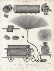"""Fire Engine: Bramah's improved Patent Fire Engine"" Antique copper engraving, Published 1805"