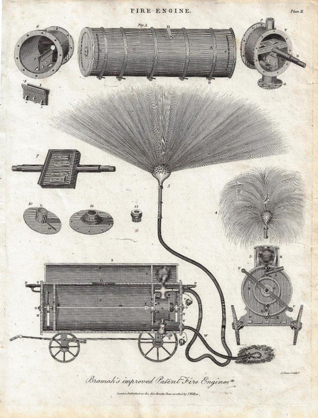 """""""Fire Engine: Bramah's improved Patent Fire Engine"""" Antique copper engraving, Published 1805"""