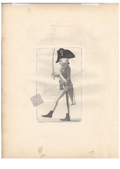 "Caricature John Kay ""Ensign Macdougal of the Hopetoun Fencibles""  Antique Aquatint Etching designed and printed by John Kay for ""Kays Edinburgh Portraits"" Edinburgh c.1795"