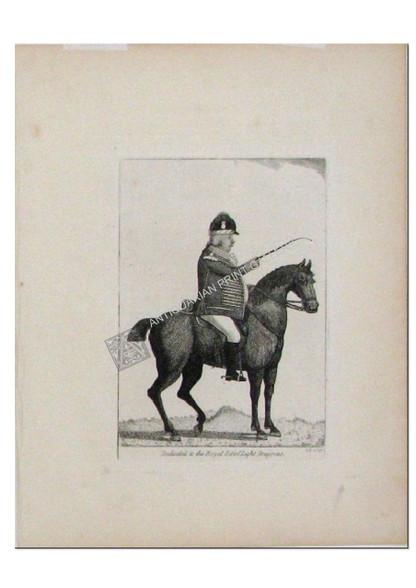 "Caricature ""Dedicated to the Royal Edinburgh Light Dragoons"" Antique Aquatint etching by John Kay for ""Kay's Edinburgh Portraits"" Published Edinburgh 1797"