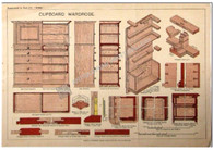 "Hooby Cabinet making ""Cupboard Wardrobe"" Antique Chromolithograph c.1885"
