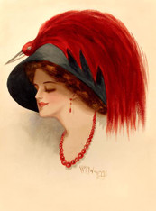 From the original watercolour by Ledda Williams.  Painted in 1912, this poised study  is a celebration of woman hood, not only from the subject but also being painted by a female artist. Note the use of makeup and choice of accessory colour.