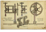 """Small Vertical Hand-power Drilling Machine"" Antique Chromolithograph c.1895"