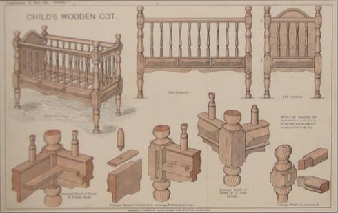 Hobby Nursery Child's Wooden Cot c.1885