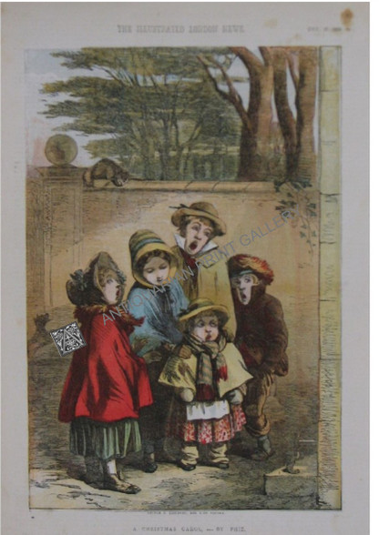 """Antique Print """"A Christmas Carol""""-by """"Phiz"""" by Hablot Knight Browne, printed by George C. Leighton & Published in color by 'Illustrated London News' Dec 22 1855"""