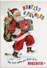 Vintage Advertisement featuring Father Christmas with a Huntley & Palmer Biscuit tin and a bag of children's toys over his shoulder in celebration of Festive Season 1950