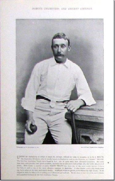 """Harry Trott"" , Australian Cricketer, Antique  Photogravure, 1897"