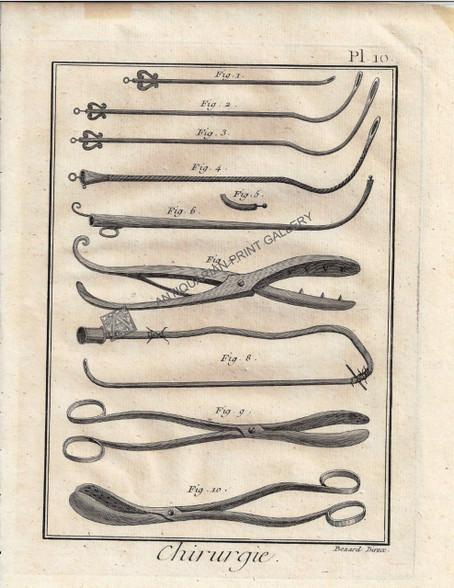 """Chirgurie"" Antique print depicting Surgical Instruments by Bernard, Published Paris c.1740"