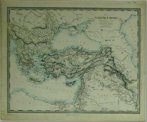 "Antique map ""The Turkish Empire in Europe and Asia with the Kingdom of Greece"" engraved by J. & C. Walkers, Published by Edward Stanford, 1856. www.historyrevisited.com.au"