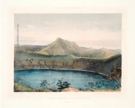 """Mount Gambier, and one of its Volcanic Lakes (after Sunset)"" archival giclee print after and original hand coloured lithograph for George French Angas' ""South Australia Illustrated. www,historyrevisited.com.au"