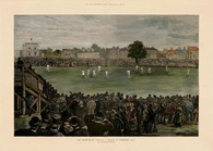 "CRICKETING LEGEND~ Did you ever wonder what gave birth to THE ASHES series? Antiquarian Sporting Series  Archival Limited Edition Giclee Print of  the original wood engraving capturing the 1882 Test at Kennington Oval , London. The Colonial Australia Cricketers won for the first time against a full-strength English team...by 7 runs. The mock obituary placed in ""The Sporting Times"" has given the two countries the Cricketing Challenge known as  ""THE ASHES"" Issued with information certificate and Mock Obituary from the 'The Sporting Times ' for inclusion in frame presentation. Archival Edition Limited to 50"
