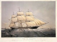 "Maiden voyage of ""City of Adelaide"" clipper,  artist Thomas Dutton, built by William Pile, Hay & Co. Sunderland, County Durham. Brought passengers to and produce from the colony of South Australia 1864-1887. www.historyrevisited.com.au"