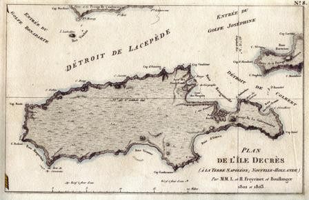 "Kangaroo Island ""Plan de L'Ile Decree A La Terre Napoleon..Freycinet et Boullanger 1802 et 1803"" Archival Limited Edition Giclee of antique map published Paris 1811. Available historyrevisited.com.au"