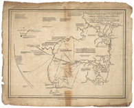 The original  map was published by John Stockdale in Piccadilly, London, September 22nd, 1792 and shows the coast from Broken Bay to Botany Bay and the hinterland to the Blue Mountains with annotations on the availability of water, topology, soils condition.  It shows the tracks of explorers who were mapping the course of the Hawkesbury-Nepean river system and the intended tracks of explorations planned in winter, 1791.   The straightness of the explorers tracks shows their use of the compass course.  They also measured distance by counting their military paces (2200 to the mile!) ~Perry /Prescott, 1996. The Gallery is issuing this Quality Limited Edition / 300