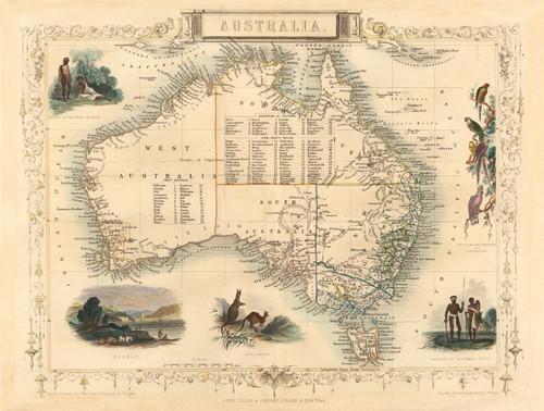 Australia Map 1850.Map Of Australia 1850 1854 Antiquarian Print Gallery