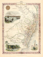 Conservation Quality Giclee New South Wales by John Tallis and Co. mapmaker John Rapkin, last of the decorative edged map folios 1850-1854. Limited Edition to 300. www.historyrevisited.com.au
