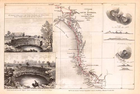 Exploration of the South East of South Australia in 1844 by Governor George Grey and illustrated by colonial artist George French Angas. Featuring the signature lakes in the crators of the 4th most significant vocanic site in the world.  Conservation Limited Edition Giclee / 200  Issued with numbered certificate.