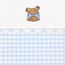 "Fabric Sample in blue ""Hopper"" & ""Primel"" with playful 'Baby Bear' & 'Ric Rac'"